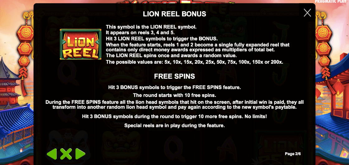 5 Lions Dance Slot Bonus Game
