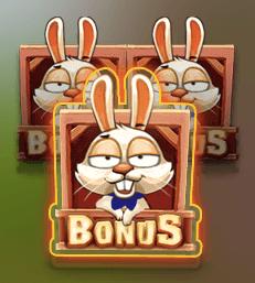 Bonus Bunnies scatter-symbol med en kanin.