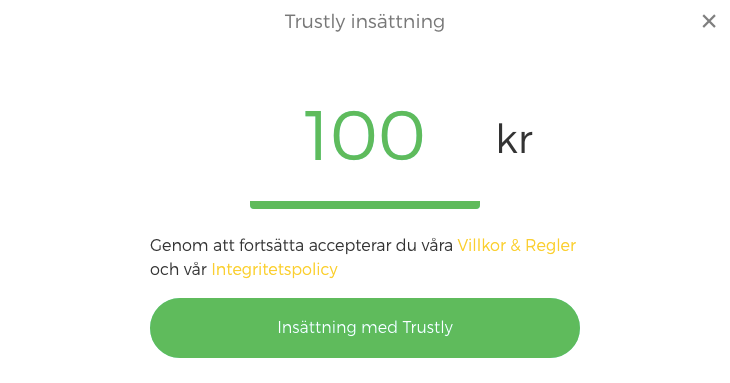 Smidig insättning med Trustly.