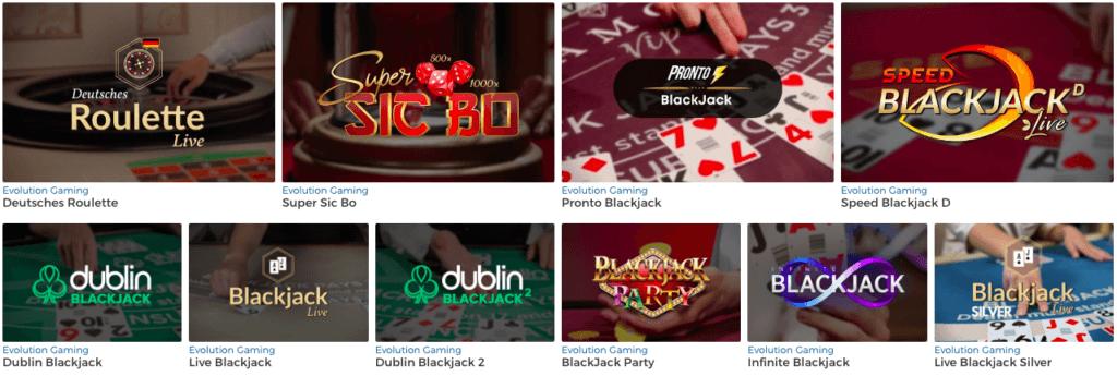 Live casinot distribueras av Evolution Gaming.