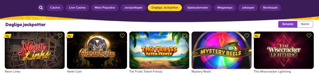 Jalla Casino dagliga jackpottar
