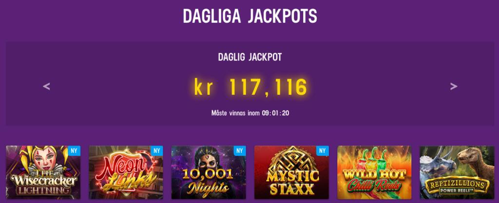 Lucky Casino dagliga jackpottar