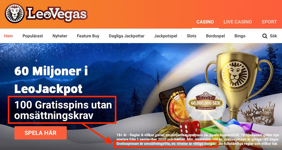 Casino bonus utan omsättningskrav hos LeoVegas