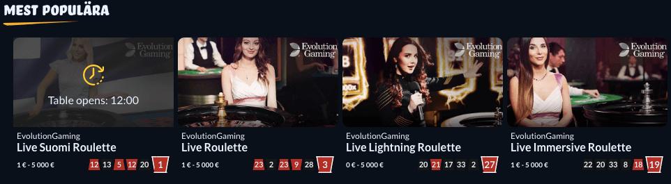 ZenSpins live casino distribueras av Evolution.