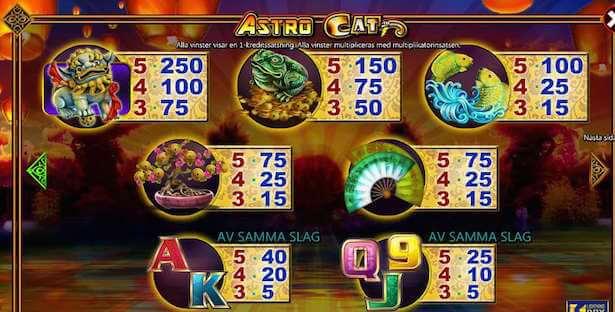 Astro Cat Slot Vinstsymboler