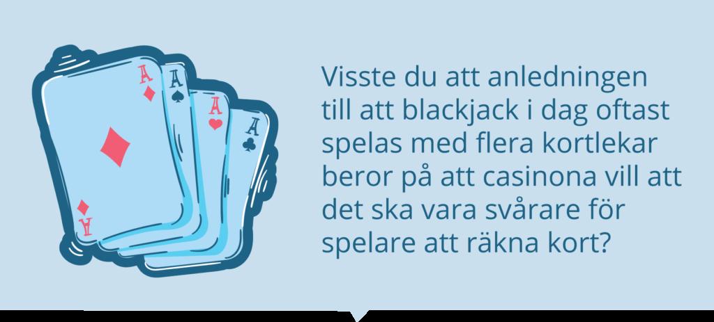 Blackjack med många kortlekar.