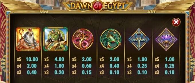 Dawn of Egypt Slot Bonus