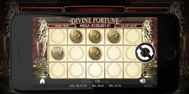 Spela Divine Fortune i mobilen