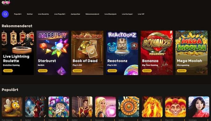 GoGo casino spelutbud