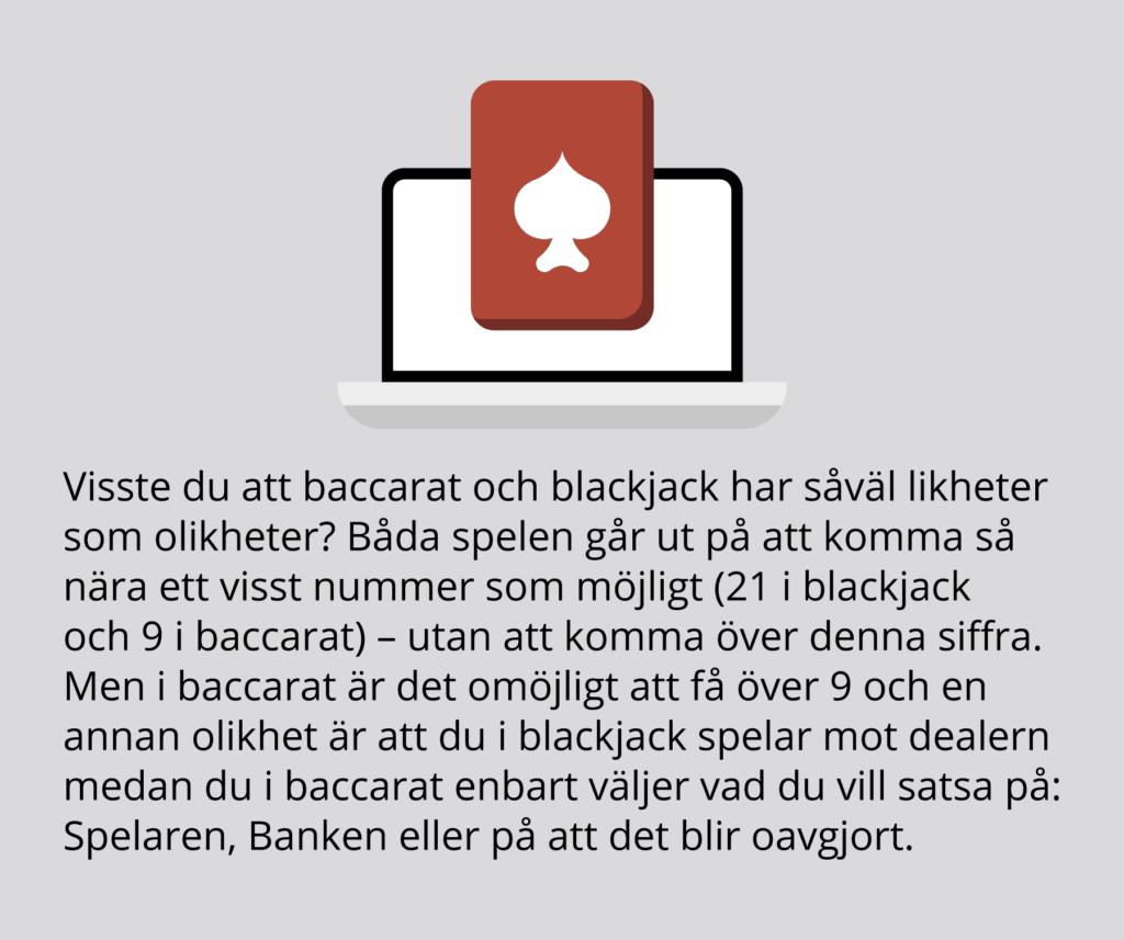 Infographic: Baccarat och blackjack har vissa likheter.