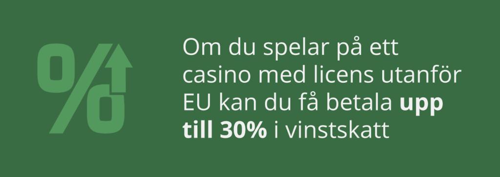 Vinstskatt på casino utan svensk licens
