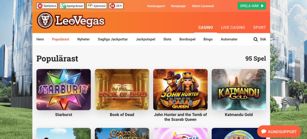 Du hittar självhjälpsverktygen högst upp på casinots hemsida.