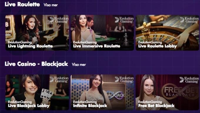 InAndOut Casino Livespel