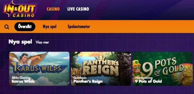 InAndOut Casino Spelutbud