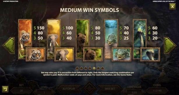 Jungle Spirit slot symboler