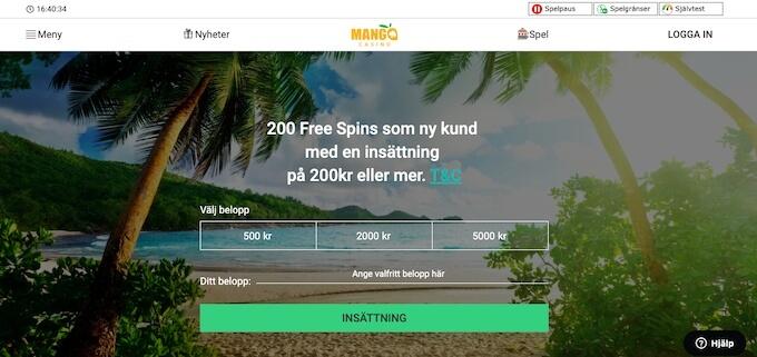 Mango Casino bonus