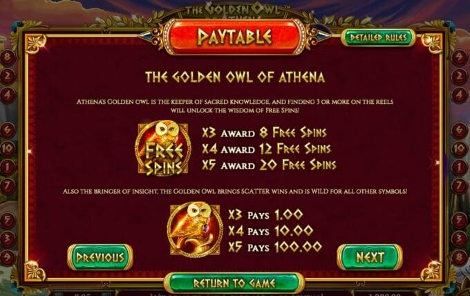 Golden Owl of Athena Slot Bonus