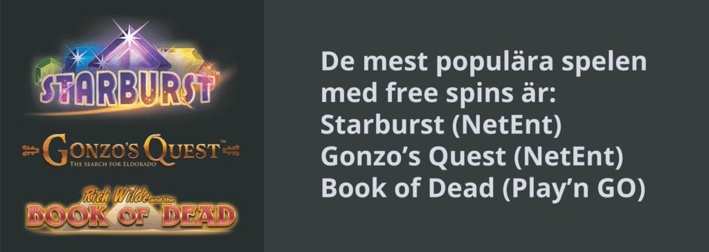 populära free spins slots