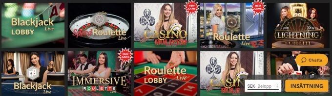 Snabbis Casino Live
