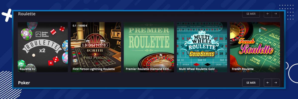 Twin Casino bordsspel