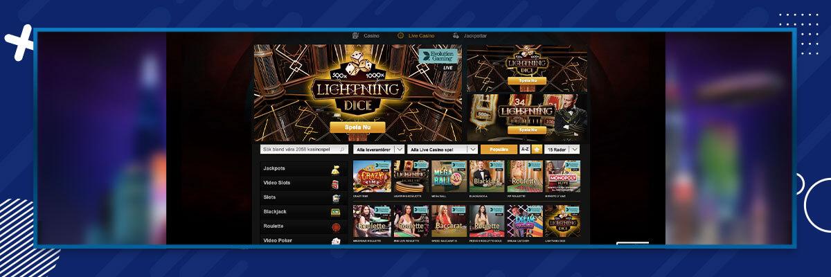 Videoslots live casino