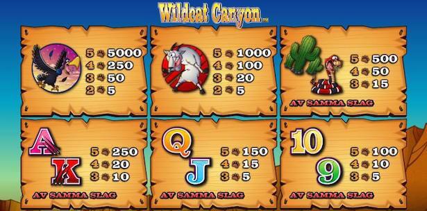 Wildcat Canyon Slot Vinstsymboler