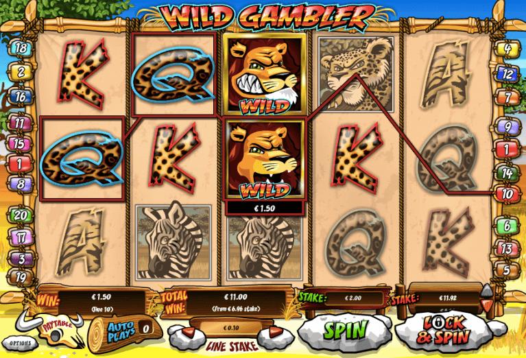 Wild Gambler spelplan.